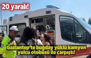 Gaziantep'te buğday yüklü kamyon ile otobüs...