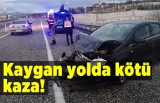 Kaygan yolda kötü kaza