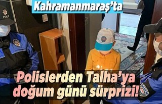 Kahramanmaraş'ta polislerden Talha'ya doğum...