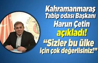 Kahramanmaraş Tabip odası Başkanı Harun Çetin...