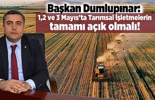 Başkan Dumlupınar: 1, 2 ve 3 Mayıs'ta Tarımsal...