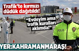 Kahramanmaraş'ta trafikteki araçlara kırmızı...