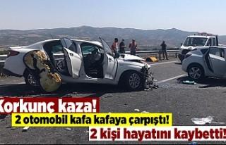 Korkunç kaza! 2 otomobil kafa kafaya çarpıştı!...