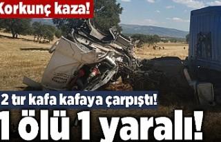 Korkunç kaza! 2 tır kafa kafaya çarpıştı! 1...