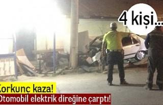 Korkunç kaza! Otomobil elektrik direğine çarptı!...