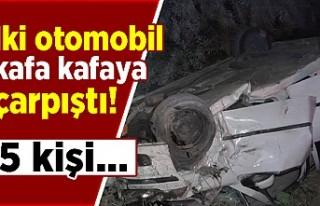 İki otomobil kafa kafaya çarpıştı: 5 kişi...