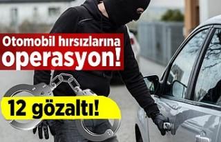 Otomobil hırsızlarına operasyon! 12 gözaltı!