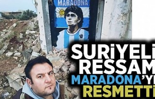 Suriyeli ressam Maradona'yı resmetti