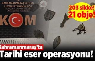 Kahramanmaraş'ta tarihi eser operasyonu! 203...