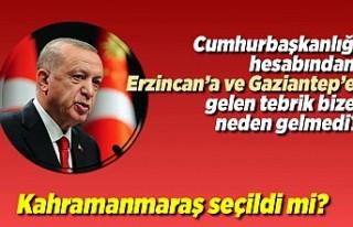 Cumhurbaşkanlığı hesabından Erzincan'a ve Gaziantep'e...