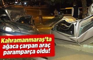 Kahramanmaraş'ta ağaca çarpan araç paramparça...