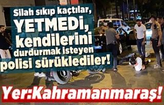 Kahramanmaraş'ta polisi metrelerce kaputta sürükleyen...