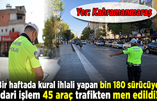 Kahramanmaraş'ta 45 araç trafikten men edilirken,...