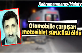Otomobille çarpışan motosiklet sürücüsü öldü