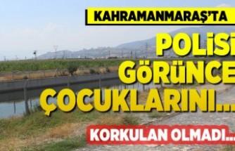 Kahramanmaraş'ta polisi görünce çocuklarını...