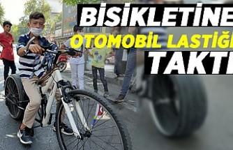 Bisikletine otomobil lastiği taktı