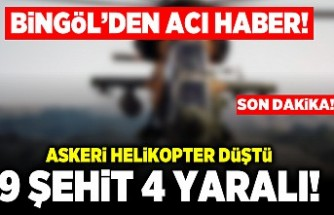 Bingöl'den acı haber! Askeri helikopter düştü! 9 Şehit 4 yaralı!