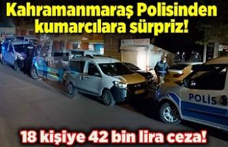 Kahramanmaraş Polisinden kumarcılara sürpriz! 18 kişiye 42 bin lira ceza!
