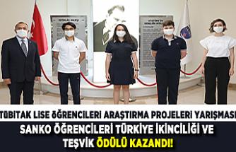 Tübitak lise öğrencileri araştırma projeleri yarışması Sanko öğrencileri Türkiye ikinciliği ve teşvik ödülü kazandı!