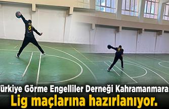 Türkiye Görme Engelliler Derneği Kahramanmaraş Şubesi Goalball Yükselme Ligi maçlarına hazırlanıyor.