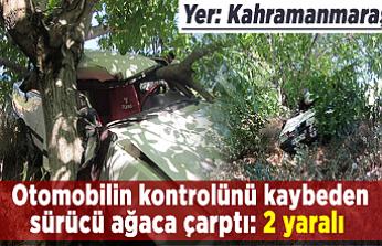 Kahramanmaraş'ta otomobilin kontrolünü kaybeden sürücü ağaca çarptı: 2 yaralı
