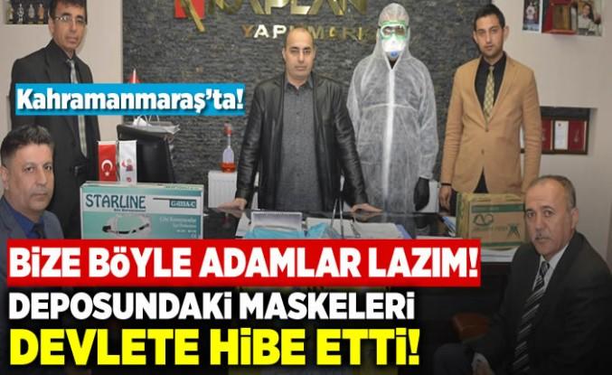 Elbistan esnafı, deposundaki 10 bin maskeyi devlete hibe etti!