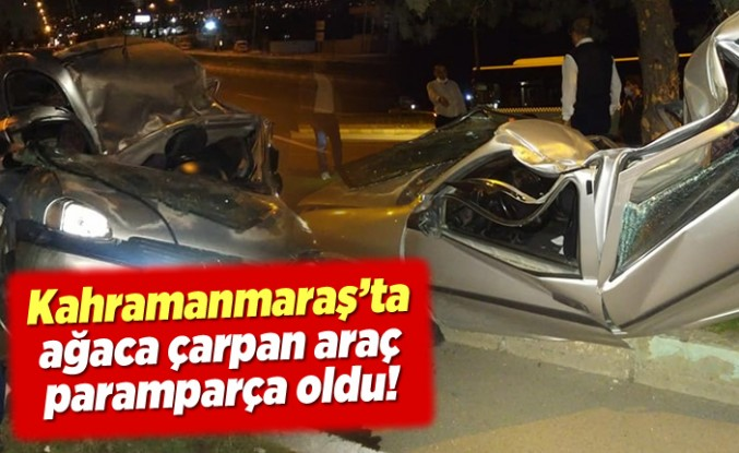 Kahramanmaraş'ta ağaca çarpan araç paramparça oldu!
