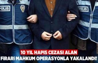 10 Yıl hapis cezası alan firari mahkum operasyonla...