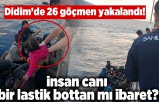 Didim'de 26 göçmen, plastik botun üzerinde...