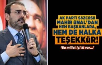 AK Partili Ünal'dan hem başkanlara, hem de halka teşekkür!